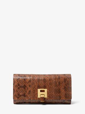 마이클 코어스 밴크로프트 장지갑 Michael Kors Bancroft Snakeskin Continental Wallet,LUGGAGE