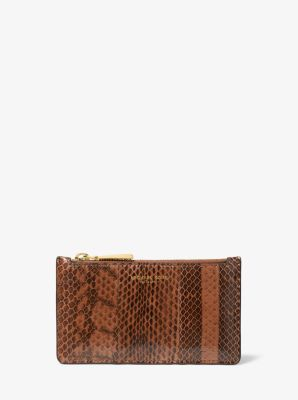 Michael Kors Small Snakeskin Card Case,LUGGAGE