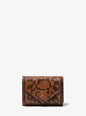 Michael Kors Snakeskin Small Pocket Wallet,LUGGAGE
