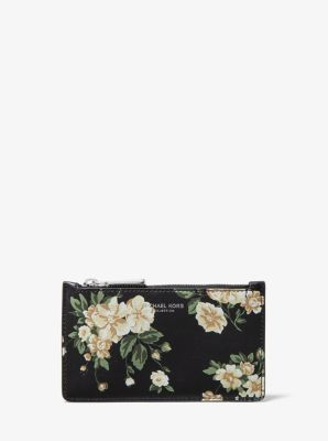 Michael Kors Small Floral Leather Card Case,NUDE