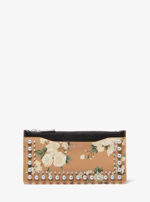 Michael Kors Large Studded Floral Leather Card Case,SUNTAN