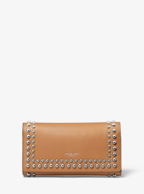 Michael Kors Studded Calf Leather Tri-Fold Wallet,SUNTAN
