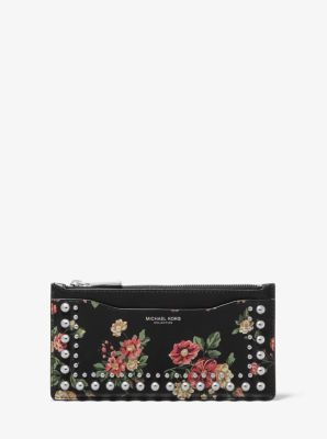 Michael Kors Large Studded Floral Leather Card Case,ROSEWOOD