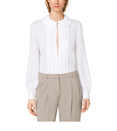 Pleated Silk-Georgette Blouse
