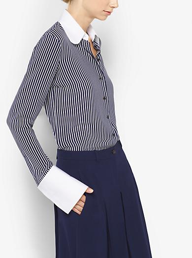 Blusa in georgette di seta a righe by Michael Kors