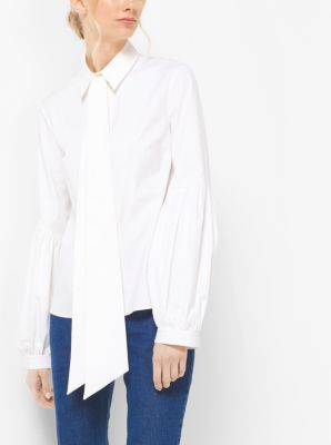 Tie-Neck Stretch-Cotton Poet's Blouse by Michael Kors