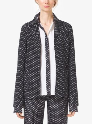 Polka-Dot Techno-Cady Pajama Shirt by Michael Kors