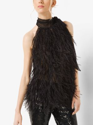 Ostrich Feather and Point d'Esprit Sleeveless Bow Blouse by Michael Kors