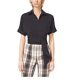 Cropped Cotton-Poplin Tie Shirt