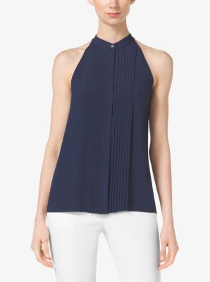 Pleated Silk Halter Top by Michael Kors