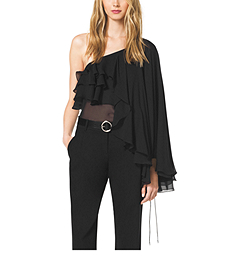 Single-Shoulder Silk Ruffle Top