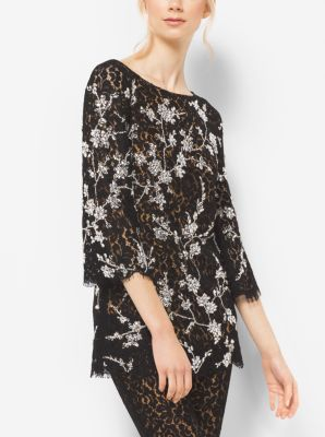 Crystal-Embroidered Floral Lace Tunic  by Michael Kors