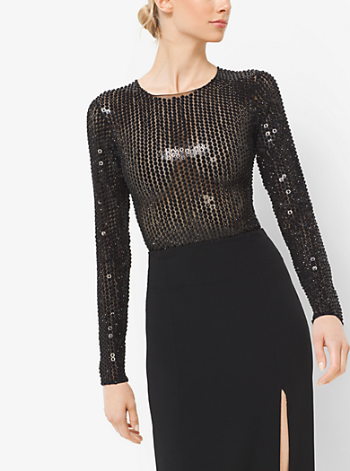 Body in tulle stretch ricamato con paillettes by Michael Kors