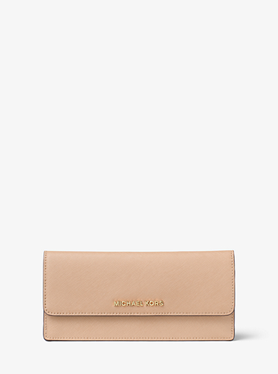 Jet Set Travel Slim Saffiano Leather Wallet by Michael Kors
