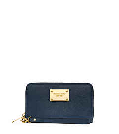 Large Saffiano Leather Phone Wristlet