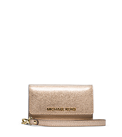 Jet Set Travel Metallic Saffiano Leather Phone Wristlet