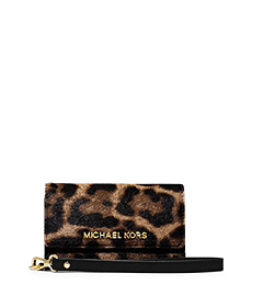Leopard-Print Hair Calf Phone Wristlet