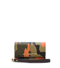 Jet Set Travel Camouflage Saffiano Leather Wristlet