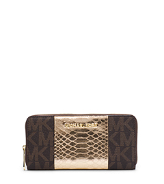 Jet Set Travel Logo Snake Pattern-Embossed Leather Wallet