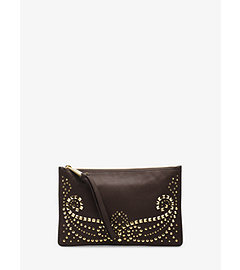 Rhea Studded Leather Large Zip Clutch