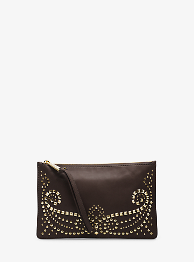 Rhea Studded Leather Large Zip Wristlet by Michael Kors