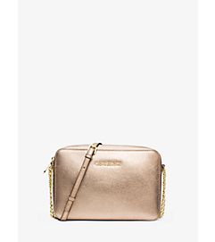 Jet Set Travel Metallic Saffiano Leather Crossbody by Michael Kors