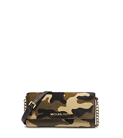 Jet Set Camouflage Hair Calf Chain Wallet