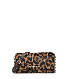 Jet Set Travel Leopard Hair Calf Chain Wallet