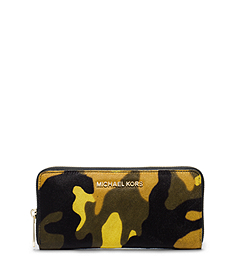 Jet Set Travel Camouflage Hair Calf Wallet