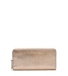 Jet Set Travel Metallic Leather Wallet