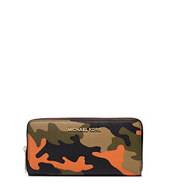 Jet Set Travel Camouflage Saffiano Leather Wallet
