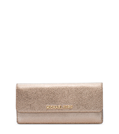 Jet Set Travel Metallic Saffiano Leather Wallet
