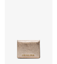 Jet Set Travel Metallic Saffiano Leather Card Holder
