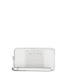 Jet Set Travel Micro-Stud Saffiano Leather Phone Wristlet
