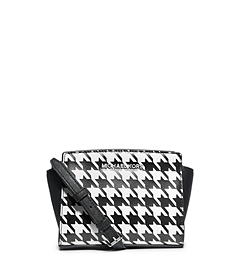 Selma Houndstooth Saffiano Leather Mini Messenger
