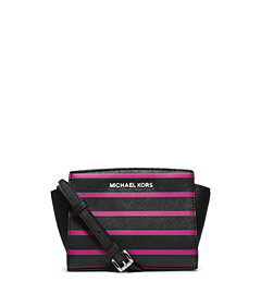 Selma Stripe Saffiano Leather Mini Messenger