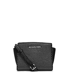 Selma Studded Saffiano Leather Mini Messenger