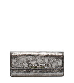 Jet Set Travel Lizard-Pattern Embossed Leather Wallet