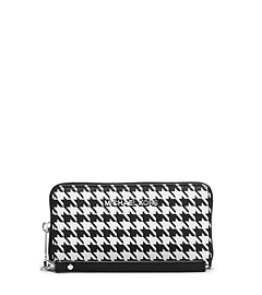 Jet Set Travel Houndstooth Saffiano Leather Phone Case
