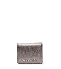 Jet Set Travel Metallic Saffiano Leather  Card Holder