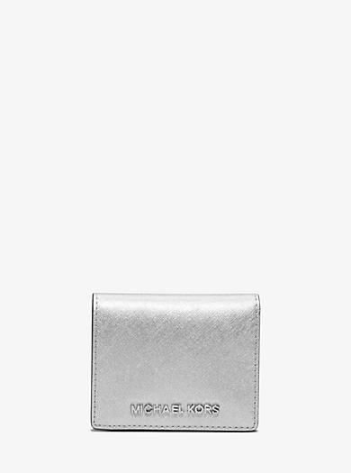 Jet Set Travel Metallic Saffiano Leather Card Holder by Michael Kors