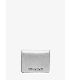 Jet Set Travel Metallic Saffiano Leather Card Holder by Michael Kors