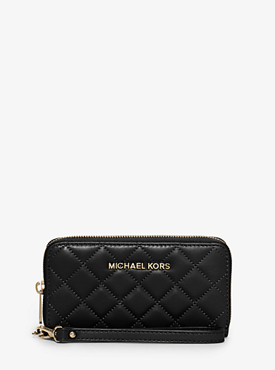 Susannah Large Quilted-Leather Smartphone Wristlet by Michael Kors