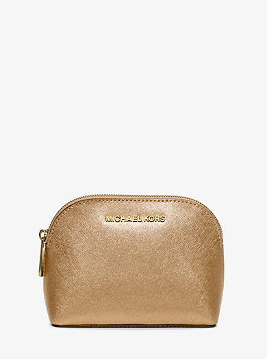 Cindy Metallic Saffiano Leather Pouch by Michael Kors