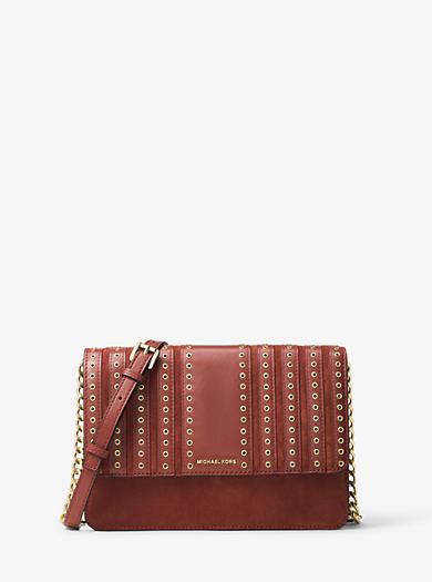 Brooklyn Large Grommet Suede and Leather Crossbody by Michael Kors