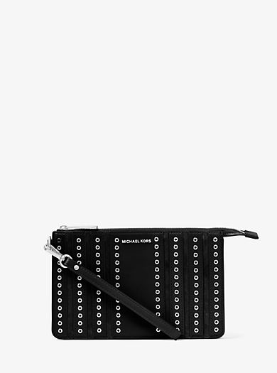 Brooklyn Medium Grommet Suede and Leather Wristlet by Michael Kors
