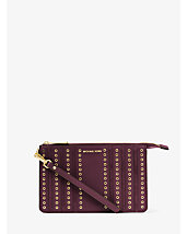 Brooklyn Medium Grommet Suede and Leather Wristlet