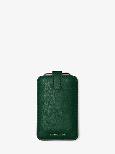 Pebbled-Leather Phone Sleeve by Michael Kors