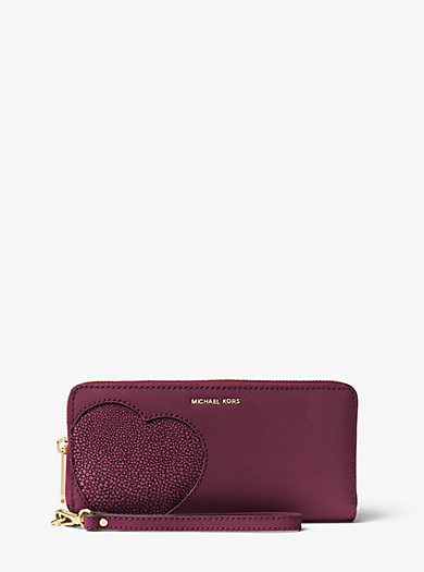 Hearts Saffiano Leather Wristlet by Michael Kors