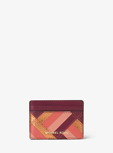 Patchwork Leather Flat Card Case by Michael Kors
